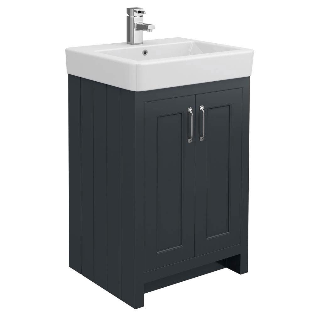 700mm freestanding bathroom vanity traditional bathroom vanities - Chatsworth Traditional Graphite Vanity 560mm Wide Medium Image