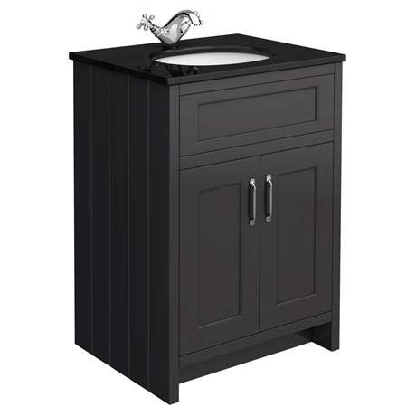 Chatsworth Graphite 610mm Vanity with Black Marble Basin Top