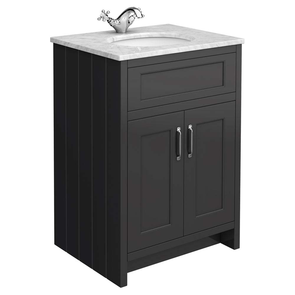 Chatsworth Graphite 610mm Vanity with Marble Basin Top Large Image