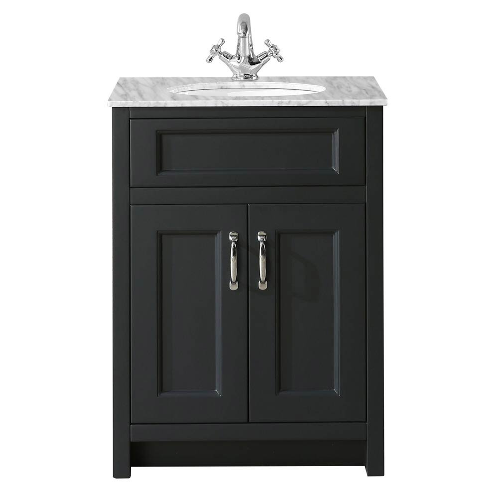 Chatsworth Graphite 610mm Vanity with Marble Basin Top profile large image view 2