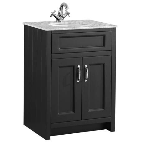 Chatsworth Graphite 610mm Vanity with Marble Basin Top