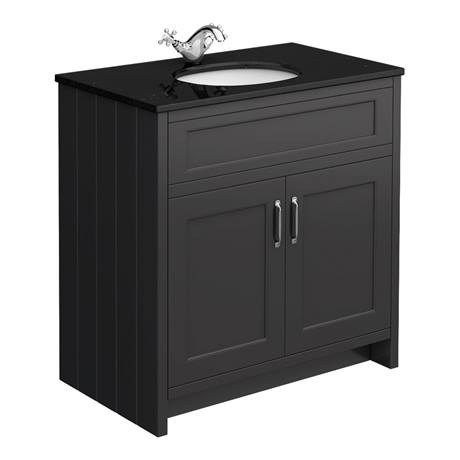 Chatsworth Graphite 810mm Vanity with Black Marble Basin Top