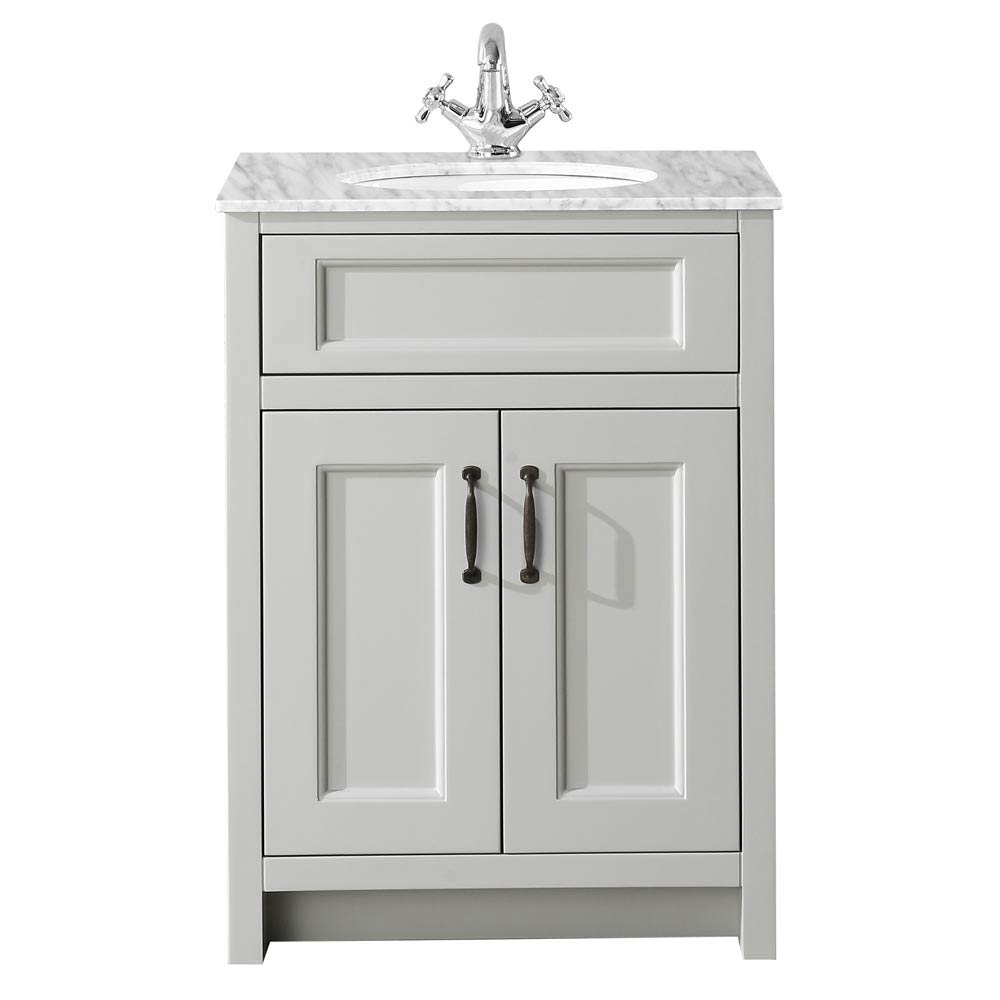 Chatsworth Grey 610mm Vanity With Marble Basin Top Victorian Plumbing UK