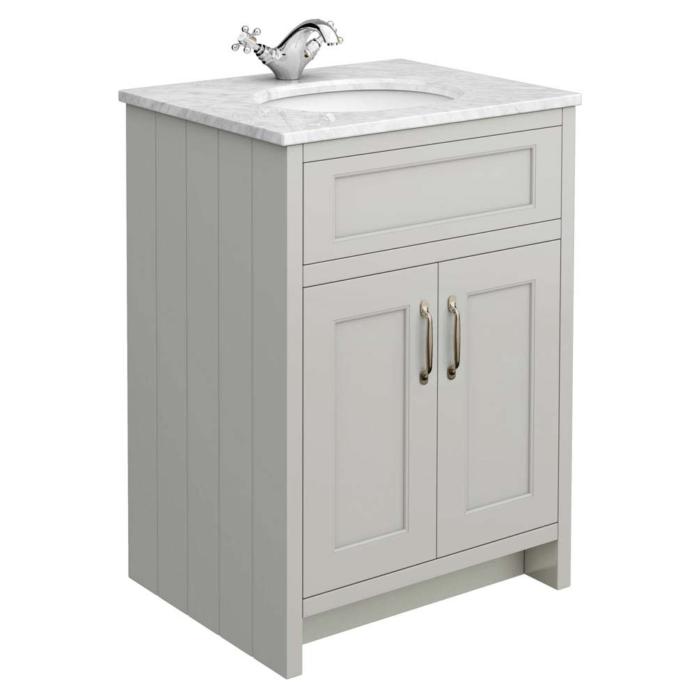 Chatsworth Grey 610mm Vanity with Marble Basin Top Large Image