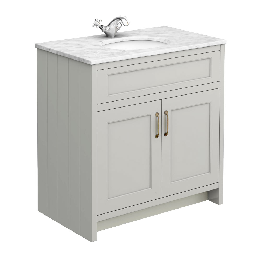 Chatsworth Grey 810mm Vanity with Marble Basin Top profile large image view 1