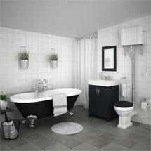 Chatsworth High Level Graphite Roll Top Bathroom Suite Medium Image
