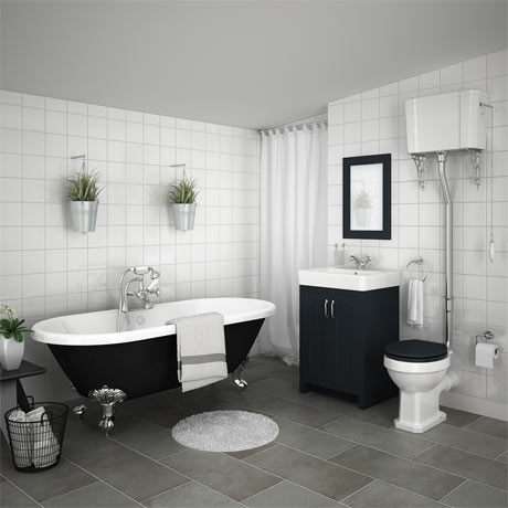 Chatsworth High Level Graphite Roll Top Bathroom Suite Inc