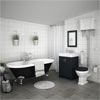 Chatsworth High Level Graphite Roll Top Bathroom Suite Inc. Black Bath profile small image view 1