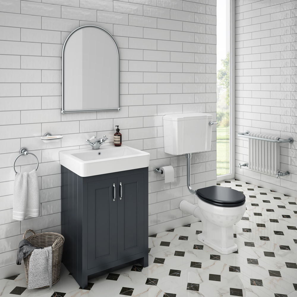 Chatsworth Low Level Traditional Toilet - located in a stylish traditional bathroom along with a stunning traditional vanity unit on a black and white patterned tile floor