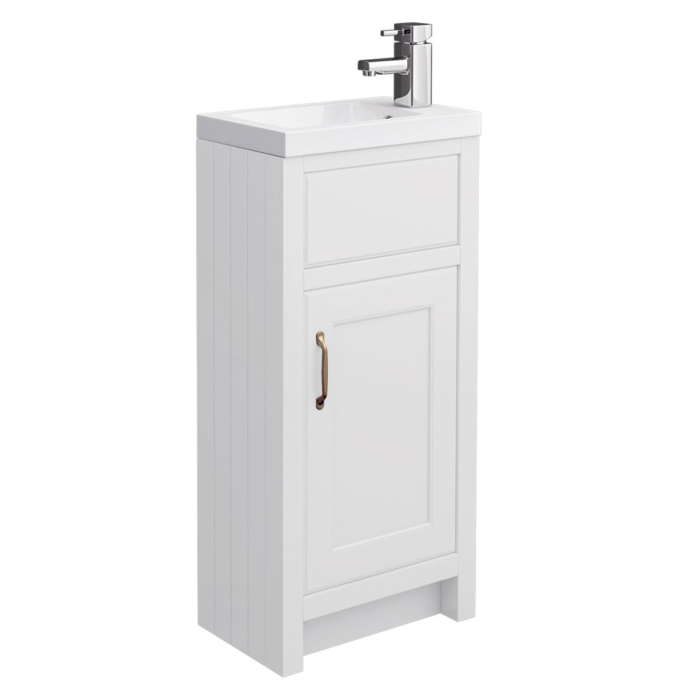 Chatsworth Traditional White Small Vanity - 400mm Wide Large Image
