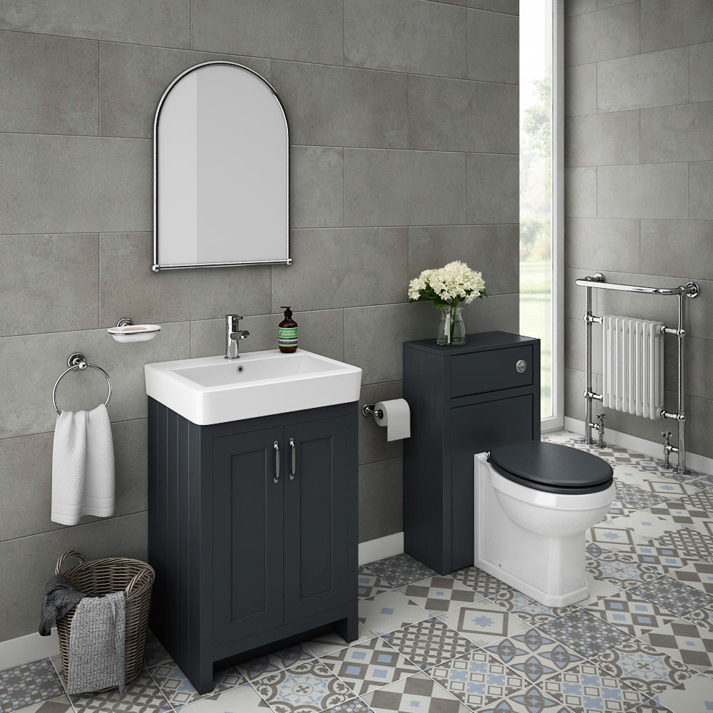 Traditional Japanese Bathroom: Chatsworth Traditional Graphite Sink Vanity Unit + Toilet