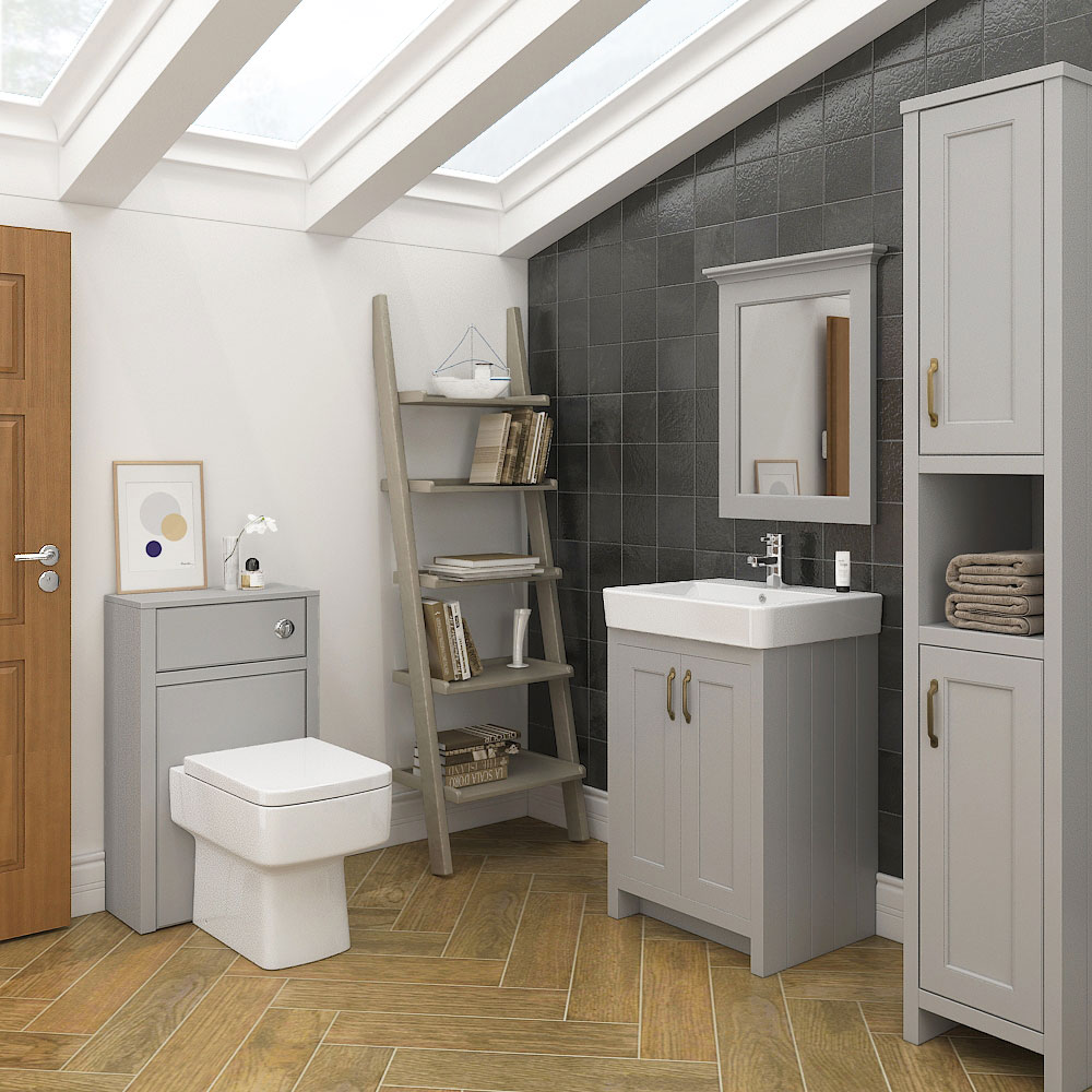 Chatsworth Traditional Grey Tall Cabinet profile large image view 3