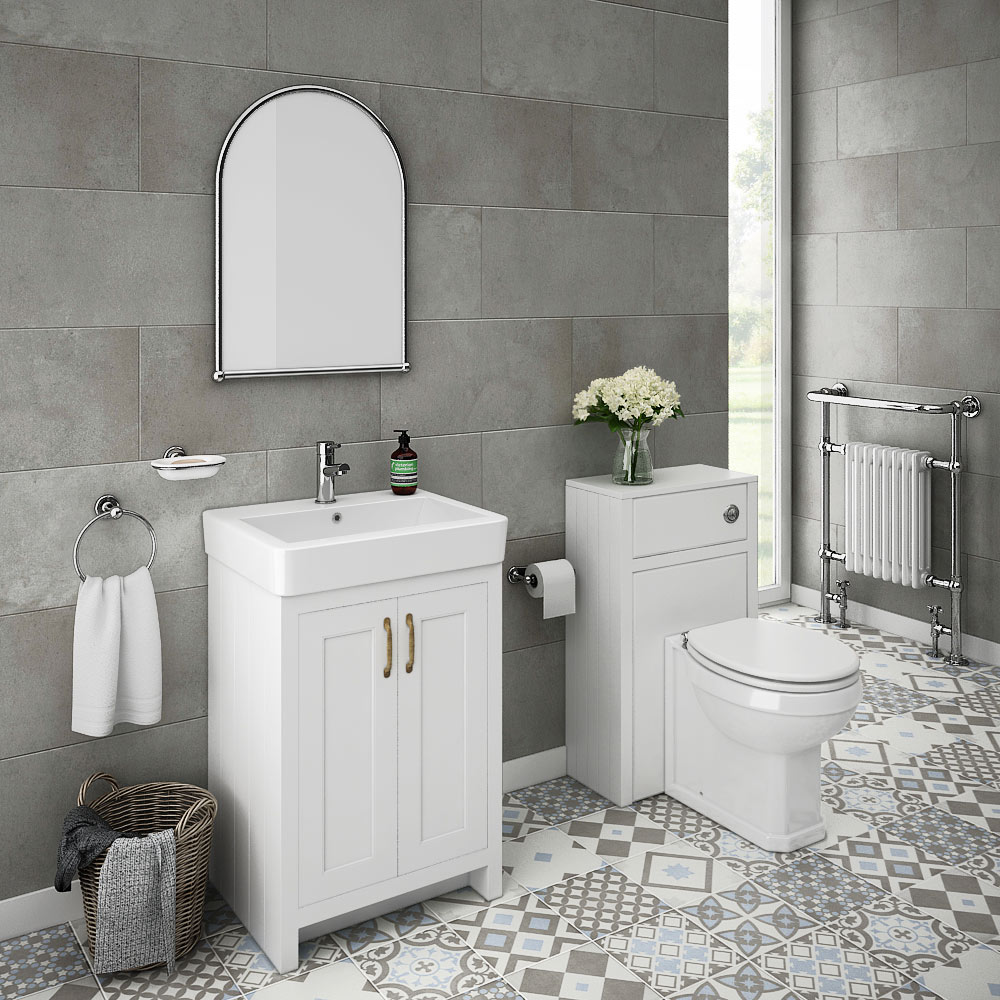 Chatsworth traditional white sink vanity unit toilet for Bath sink and toilet packages