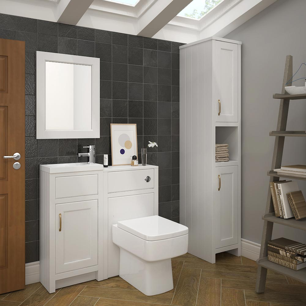 Chatsworth Traditional White Small Vanity - 400mm Wide Feature Large Image