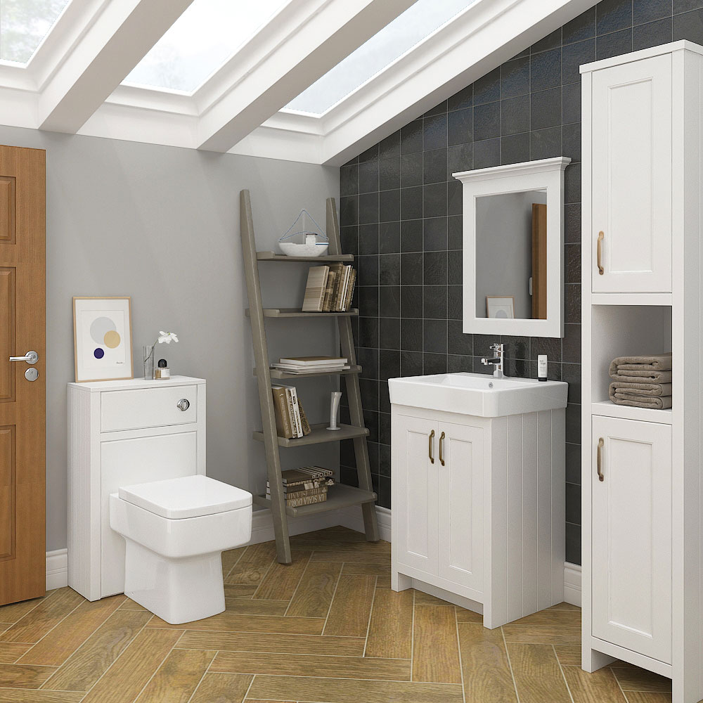 Chatsworth Traditional White Tall Cabinet profile large image view 3