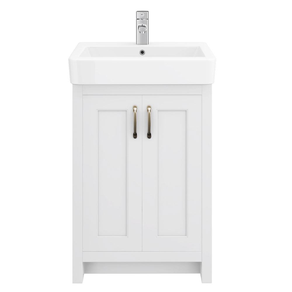 Chatsworth Traditional White Vanity - 560mm Wide Profile Large Image