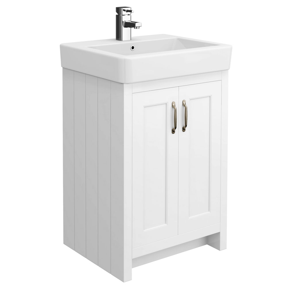 Chatsworth Traditional White Vanity - 560mm Wide Large Image
