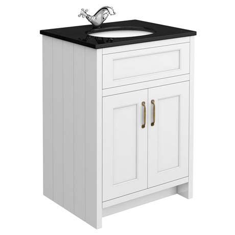Chatsworth White 610mm Vanity with Black Marble Basin Top