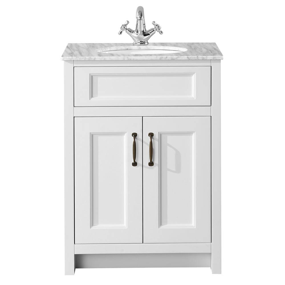 Chatsworth White 610mm Vanity with Marble Basin Top profile large image view 2