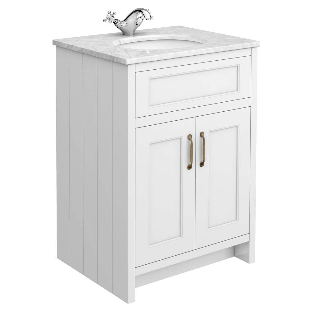 Chatsworth White 610mm Vanity with Marble Basin Top Large Image