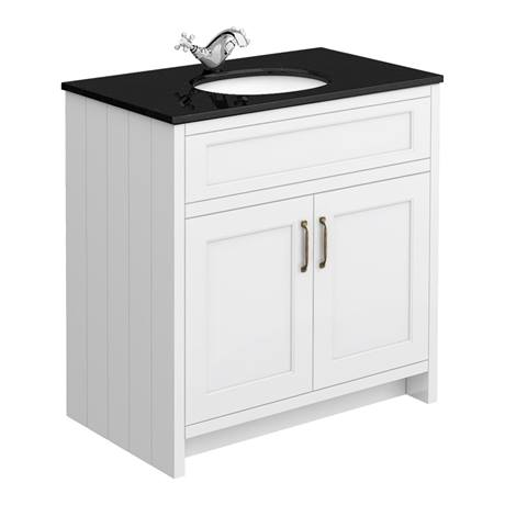 Chatsworth White 810mm Vanity with Black Marble Basin Top