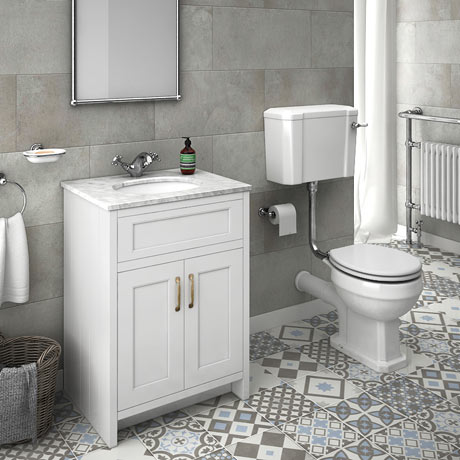 Chatsworth White Marble 4-Piece Low Level Bathroom Suite