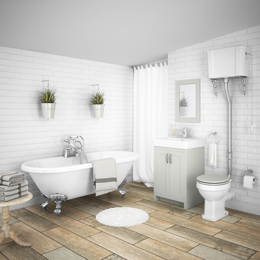 Chatsworth High Level Grey Roll Top Bathroom Suite