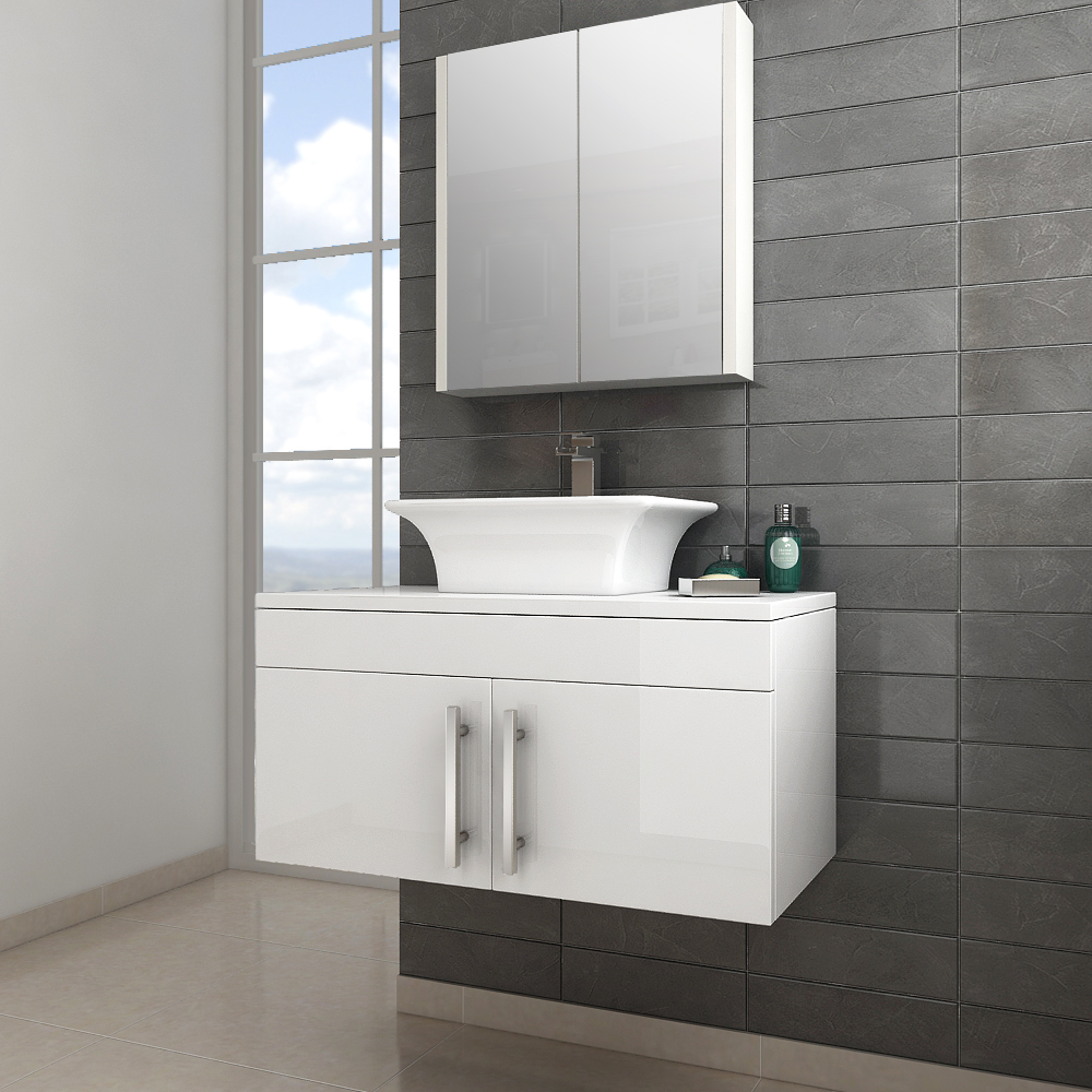 Classic gloss white wall hung vanity unit with doors now