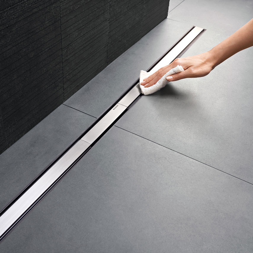 Geberit - CleanLine60 Thin Shower Channel - Brushed Metal profile large image view 3