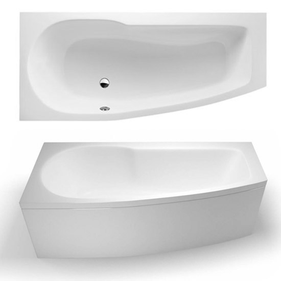 Cleargreen - EcoCurve 1700 x 750 Shower Bath with Front Panel & Bathscreen profile large image view 3