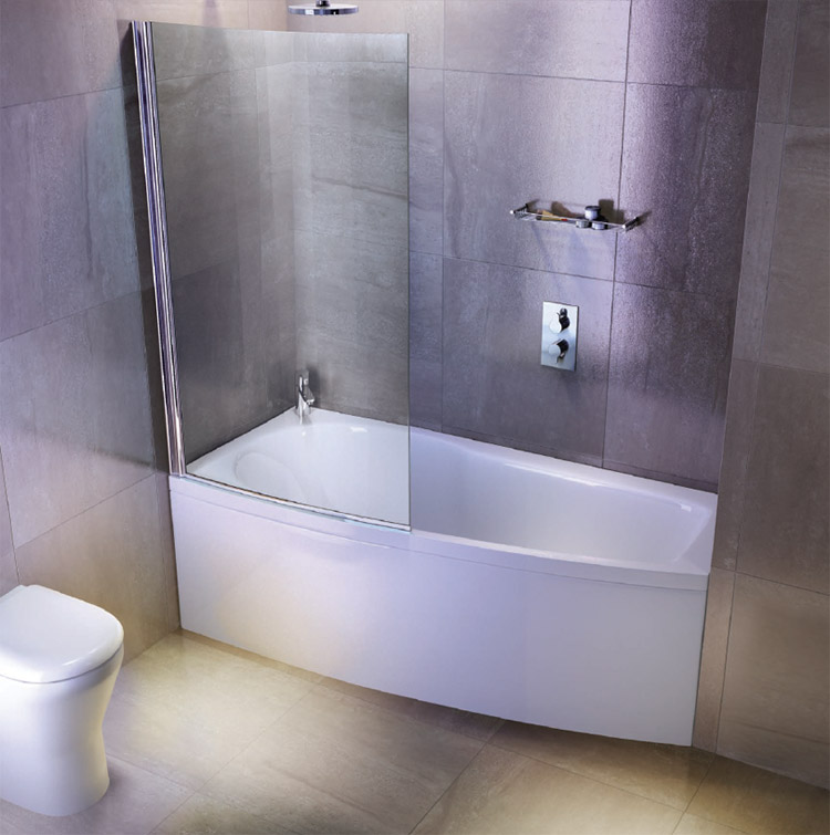 Cleargreen ecocurve 1700 x 750 shower bath with front panel bathscreen at victorian plumbing uk - Small bathroom space pict ...