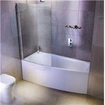Cleargreen - EcoCurve 1700 x 750 Shower Bath with Front Panel & Bathscreen Medium Image