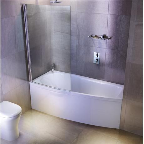 Cleargreen - EcoCurve 1700 x 750 Shower Bath with Front Panel & Bathscreen