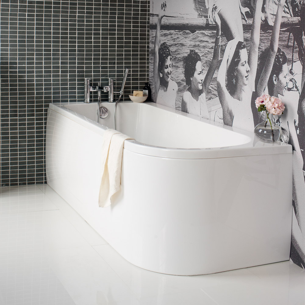 Cleargreen - Viride offset 170cm x 75cm single ended bath with panel Large Image