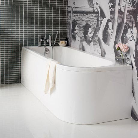 Cleargreen - Viride offset 170cm x 75cm single ended bath with panel