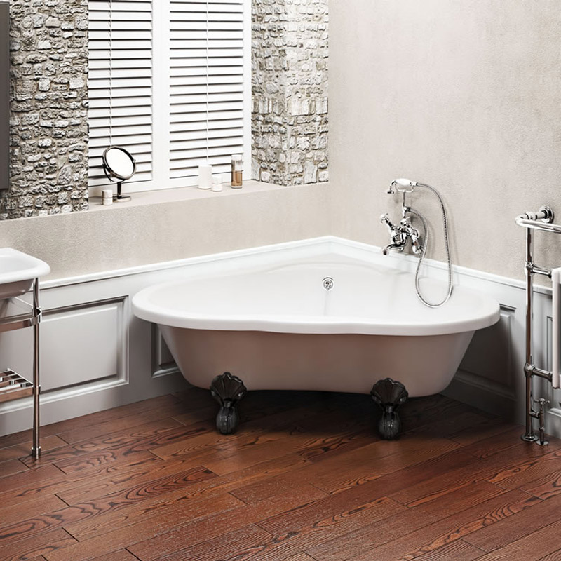 Corner Bath : Clearwater - Heart Traditional Corner Bath with Chrome Ball & Claw ...
