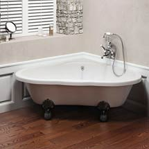 Clearwater - Heart Traditional Corner Bath with Chrome Ball & Claw Feet - T11FL4C Medium Image
