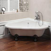 Clearwater - Heart Traditional Corner Bath with Chrome Ball & Claw Feet - T11FL4C Medium Image