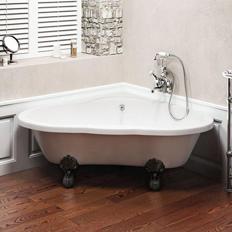 Clearwater - Heart Traditional Corner Bath with Chrome Ball & Claw Feet - T11FL4C