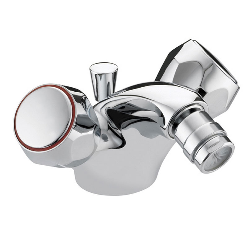 Bristan - Club Mono Bidet Mixer w/ Pop Up Waste - Chrome w/ Metal Heads - VAC-BID-C-MT Large Image
