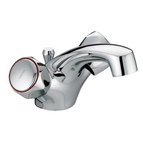 Bristan - Club Dual Flow Basin Mixer w/ Pop Up Waste - Chrome w/ Metal Heads - VAC-DFBAS-C-MT