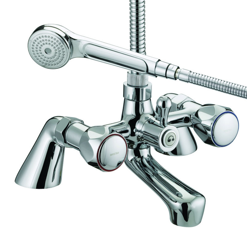 Bristan - Club Pillar Bath Shower Mixer - Chrome with Metal Heads - VAC-PBSM-C-MT profile large image view 1