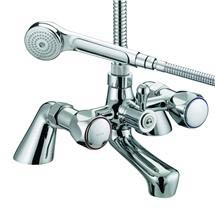 Bristan - Club Pillar Bath Shower Mixer - Chrome with Metal Heads - VAC-PBSM-C-MT Medium Image