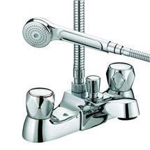 Bristan - Club Luxury Bath Shower Mixer - Chrome with Metal Heads - VAC-LBSM-C-MT Medium Image