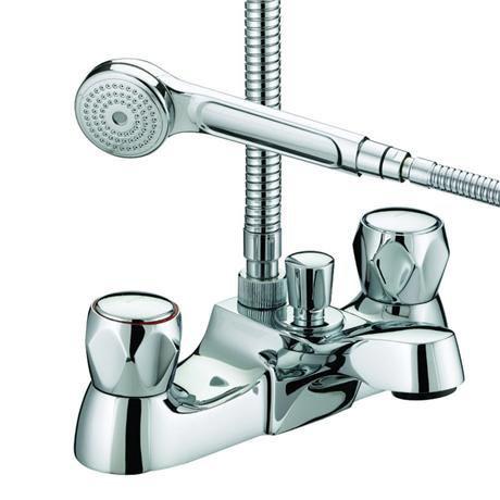 Bristan - Club Luxury Bath Shower Mixer - Chrome with Metal Heads - VAC-LBSM-C-MT