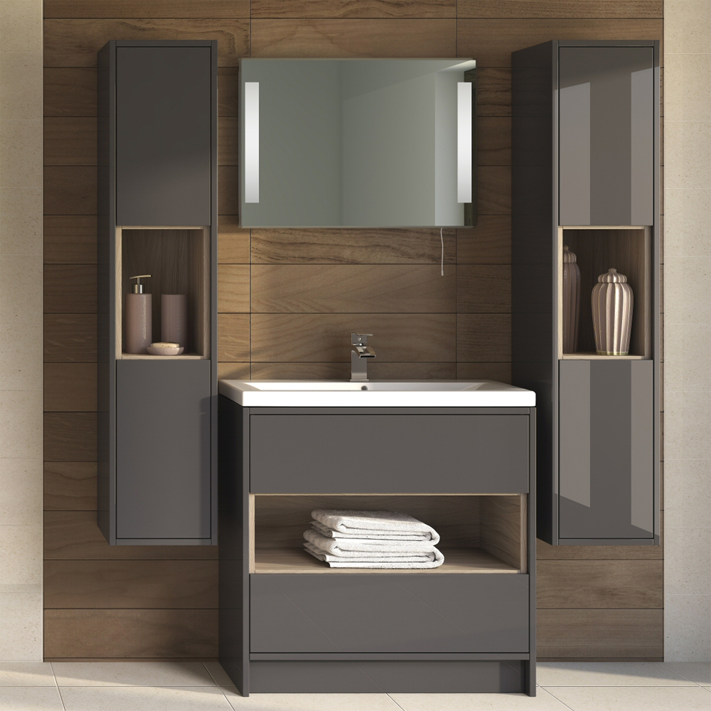 Coast 600mm Floorstanding 2 Drawer Vanity Unit with Open Shelf & Basin - Grey Gloss/Driftwood Feature Large Image