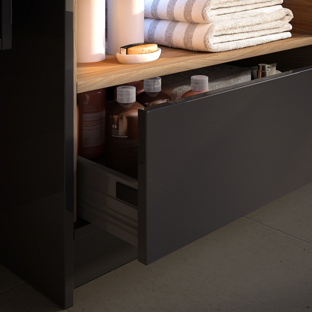 Coast 800mm Floorstanding 2 Drawer Vanity Unit with Open Shelf & Basin - Grey Gloss/Driftwood profile large image view 2
