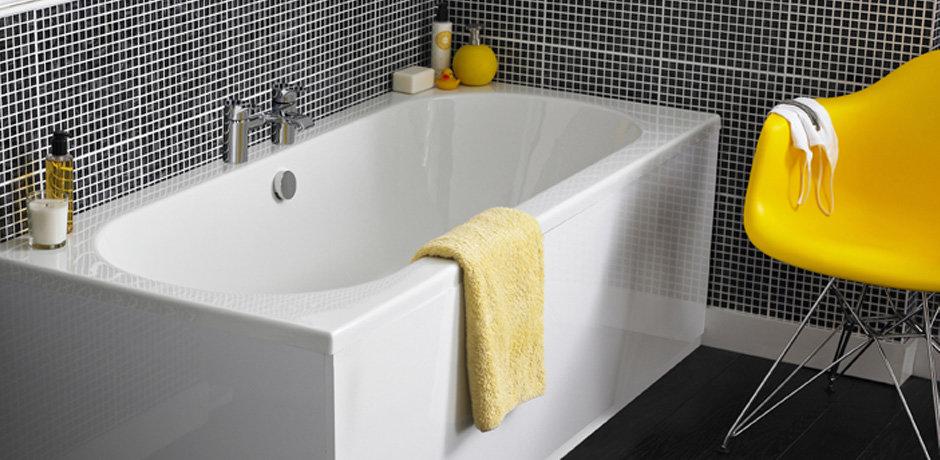 White bathtub and chrome taps