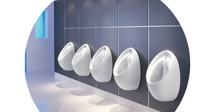 Five commercial urinals