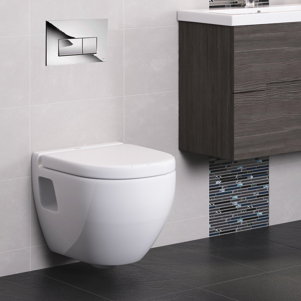 Compact Dual Flush Concealed WC Cistern with Wall Hung Frame & Modern Toilet profile large image view 4